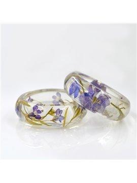 60MM Romantic Purple Preserved Flowers Hand-made Resin Round Bracelet