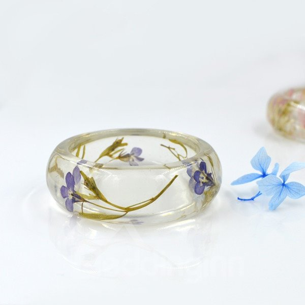 60MM Romantic Purple Preserved Flowers Hand-made Resin Round Bracelet