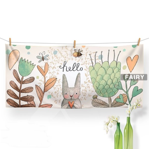Cute Cartoon Rabbit Say Hello Print Bath Towel
