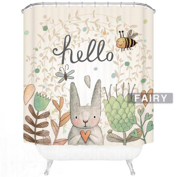 Cute Cartoon Rabbit Say Hello Print 3D Bathroom Decor Shower Curtain