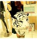 Creative Vivid Tiger Lion Design Velvet Zipper Backpack