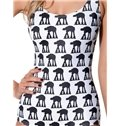 Attractive U-neck Black Camels Pattern White Background One-piece Swimwear