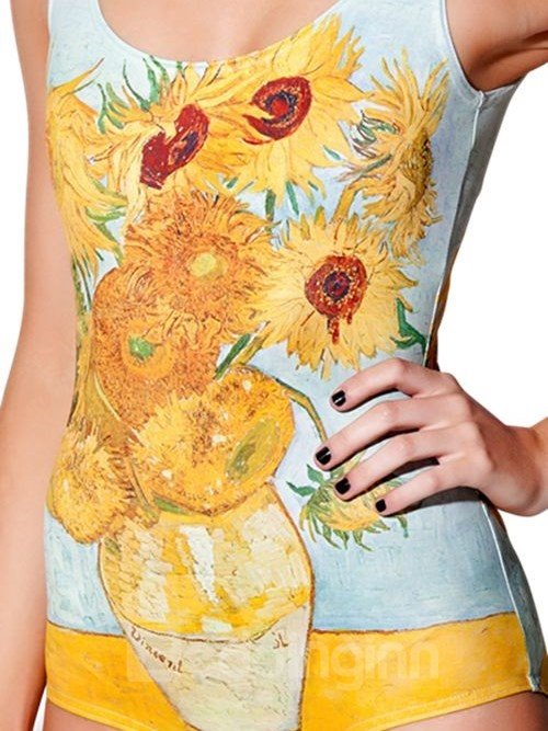 Amazing U-neck 3D Sunflower Pattern Light Blue Background One-piece Swimwear