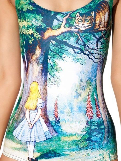 Elegant U-neck 3D Girl with Big Tree and Cat Pattern One-piece Swimwear
