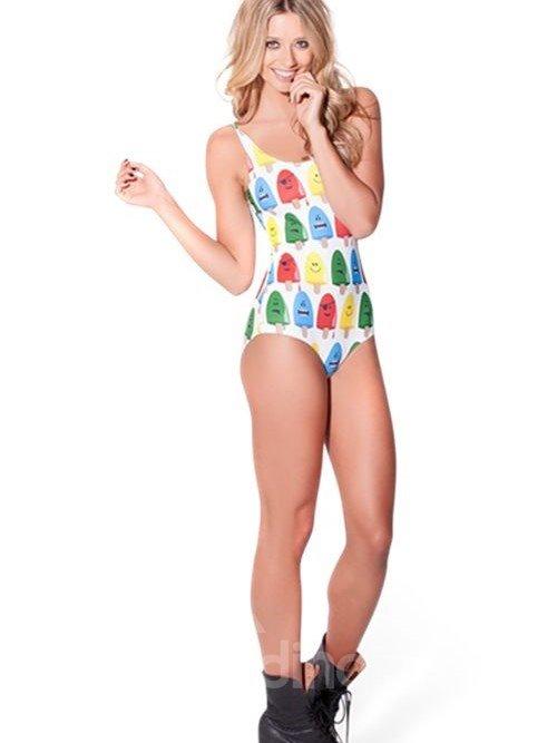 Cute U-neck 3D Ice Cream Pattern One-piece Swimwear