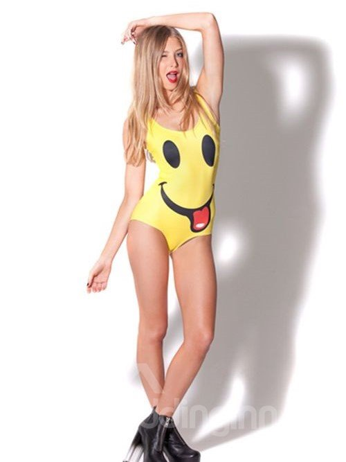 Lovely U-neck 3D Big Smile Pattern Yellow Background One-piece Swimwear