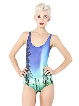 Faddish U-neck 3D Tree with Stars Shining in Sky Pattern One-piece Swimwear