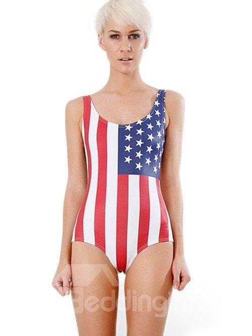 Gorgeous U-neck American Flag Pattern One-piece Swimwear