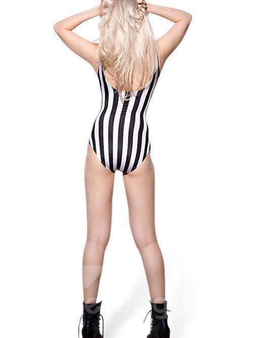 Popular U-neck Zebra Stripe Pattern One-piece Swimwear