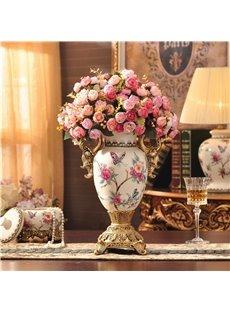 Beautiful Ceramic European Style Flower Vase Painted Pottery