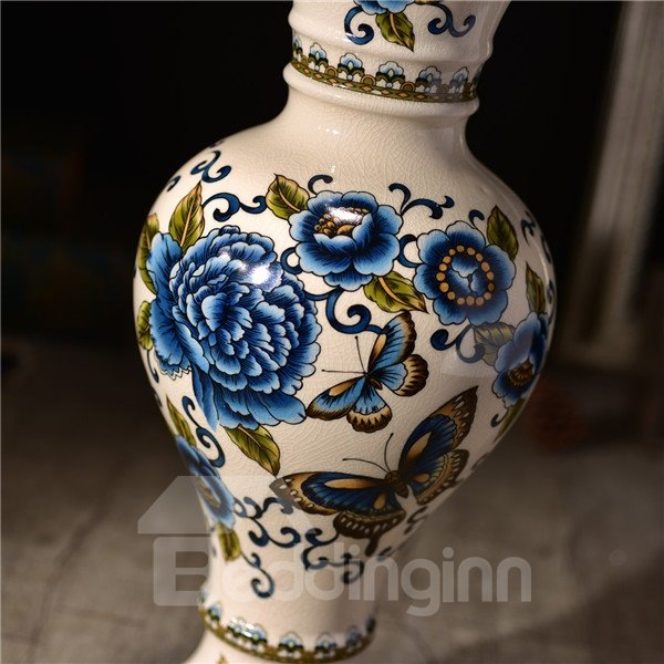 Luxury Ceramic Blue Flower and Butterfly Pattern Flower Vase Painted Pottery