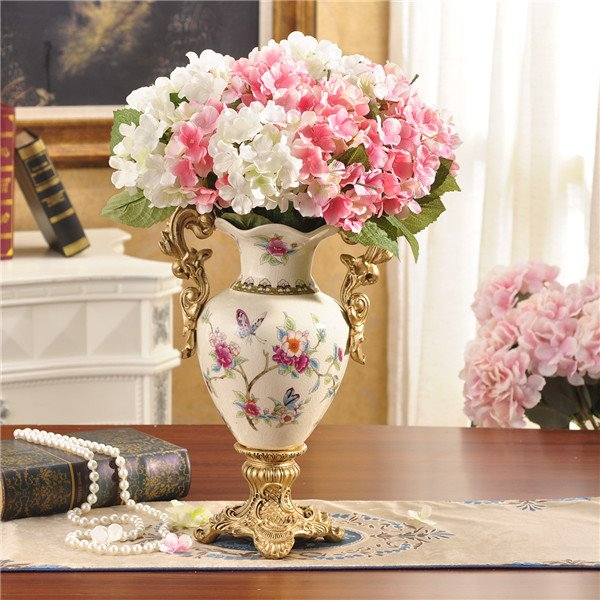 Elegant White Ceramic Decorative Flower Vase Painted Pottery