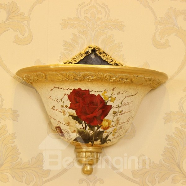 Modern Design Ceramic Red Rose Pattern Wall Flowerpot Painted Pottery