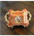 Wonderful Orange Ceramic Rectangle Fruit Plate Painted Pottery