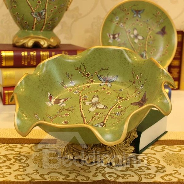 Green Ceramic Flower and Butterfly Pattern Fruit Plate Painted Pottery