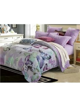 Graceful Butterfly Print Violet 4-Piece Cotton Duvet Cover Sets