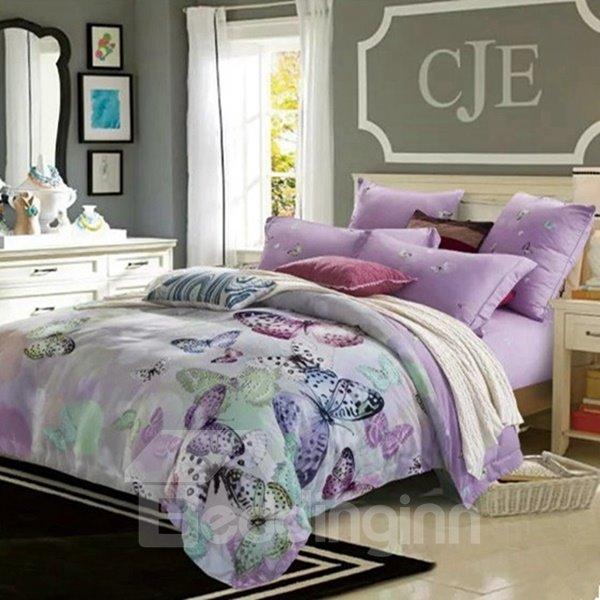 Graceful Butterfly Print Violet 4-Piece Cotton Duvet Cover Sets