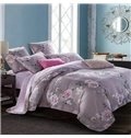 Beautiful Rose Vine Print 4-Piece Cotton Duvet Cover Sets