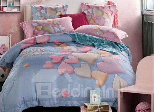 Fabulous Heart Print Light Blue 4-Piece Cotton Duvet Cover Sets