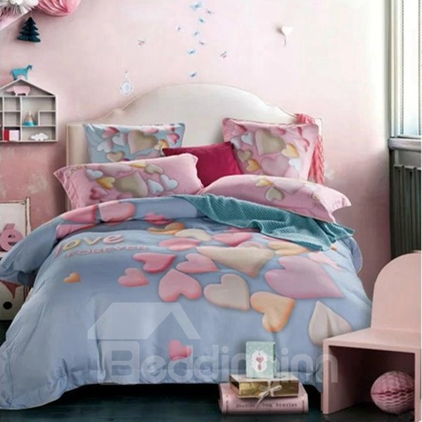 Fabulous Heart Print Light Blue 4-Piece Cotton Duvet Cover Sets