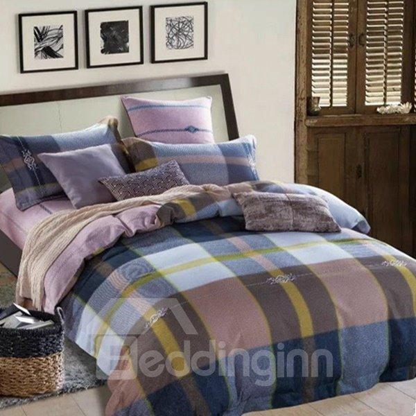 Neutral Plaid Print 4-Piece Cotton Duvet Cover Sets