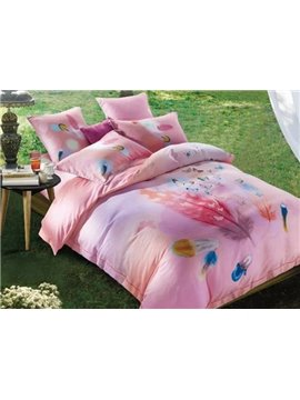 Fancy Colorful Feather Print Pink 4-Piece Cotton Duvet Cover Sets