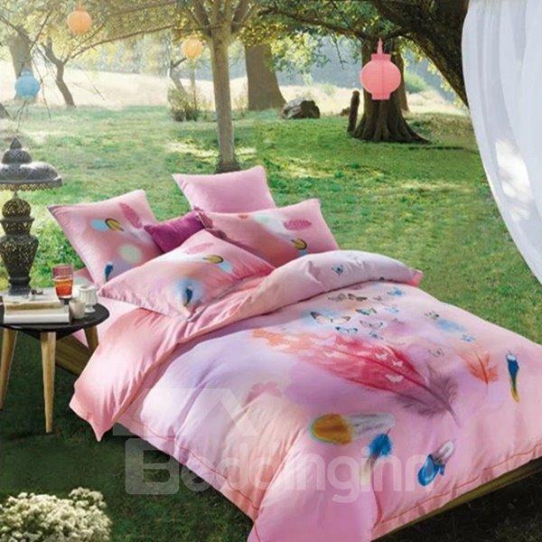 Fancy Colorful Feather Print Pink 4-Piece Cotton Duvet Cover Sets