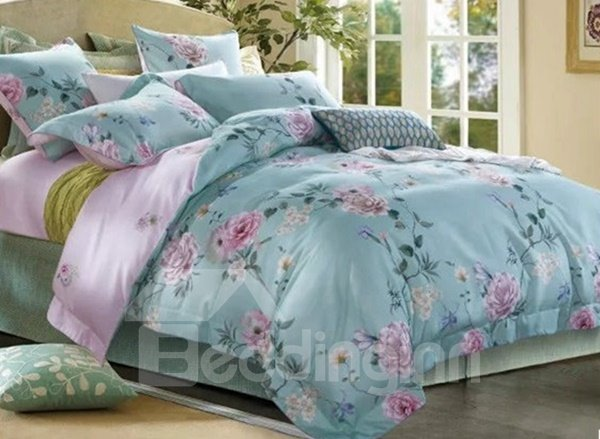 Splendid Peony Print Blue 4-Piece Cotton Duvet Cover Sets