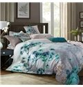 Fresh Green Ginkgo leaves Print 4-Piece Cotton Duvet Cover Sets