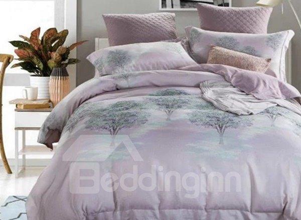 Dreamy Tree Print Light Purple 4-Piece Cotton Duvet Cover Sets
