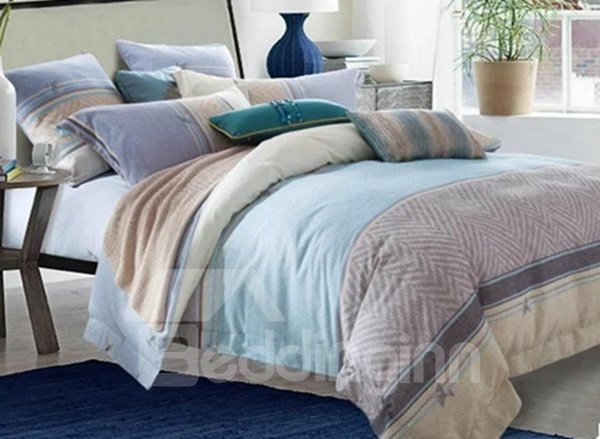 Minimalist Style Chevron Print Blue 4-Piece Cotton Duvet Cover Sets