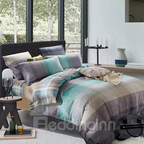 Concise Colorful Plaid Print 4-Piece Cotton Duvet Cover Sets