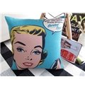 Fancy Cartoon Girl Print Blue Throw Pillow
