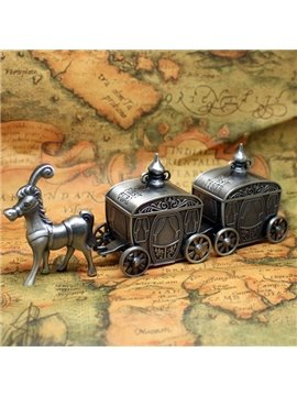 Carriage Design Zinc Alloy Baby First Tooth and Curl Keepsake Boxes