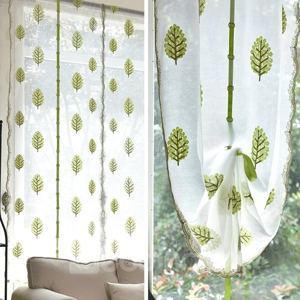 Free Shipping Elegant Green Leaves Embroidery Voile Tied-Up Roman Shades