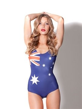 Fashionable U-neck 3D Australian Flag Pattern One-piece Swimwear