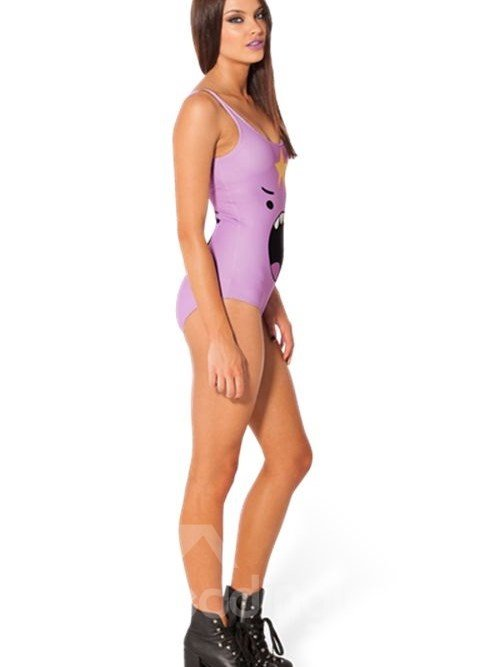 Bright U-neck Cartoon Angry Facial Expression with Big Mouth Pattern Light Purple Background One-piece Swimwear