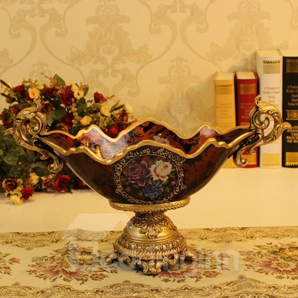 Creative Resin European Style Flower Pattern Compote Painted Pottery