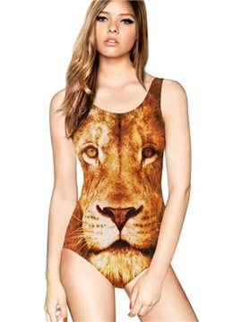 Fancy U-neck 3D Lion Face Pattern One-piece Swimwear