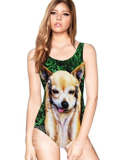 Lovely U-neck 3D Cute Dog Pattern Lawn Background One-piece Swimwear