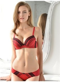 Charming Black And Red Classic Match Attractive Bra Underwear Sets