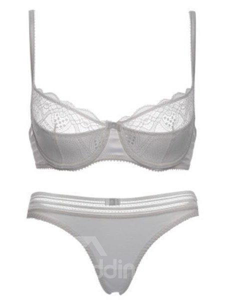 Sexy Contrast Color Design Fascinate Hollow Bra Underwear Sets