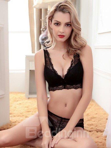 Sexy Women Charming Flower Style Design Hollow Bra Underwear Sets