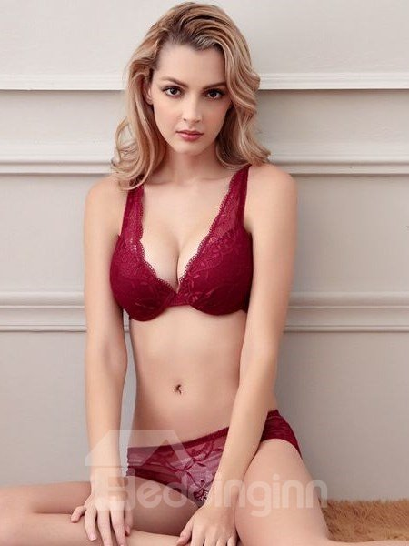 Fascinate Hollow Lace Floral Sexy Design Bra Set
