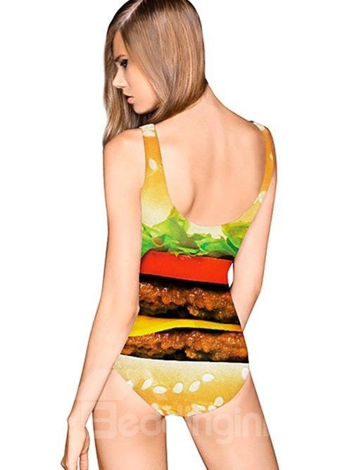 Amazing U-neck 3D Hamburger Pattern One-piece Swimwear