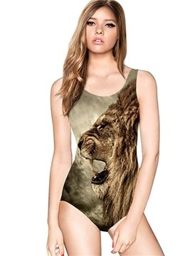 Super U-neck 3D Lion Open Big Mouth Pattern One-piece Swimwear