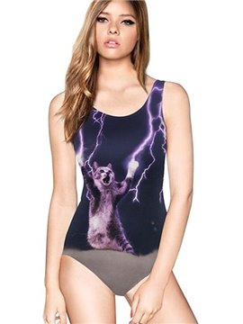 Fashion U-neck 3D Cat Make Lightning by Claw Pattern Black Background One-piece Swimwear