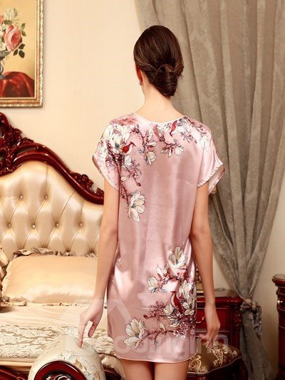 Elegant And Luxury Design With Charming Plum Flower Sleepshirt