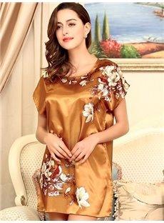 Elegant And Luxury Design With Charming Plum Flower Sleepshirt