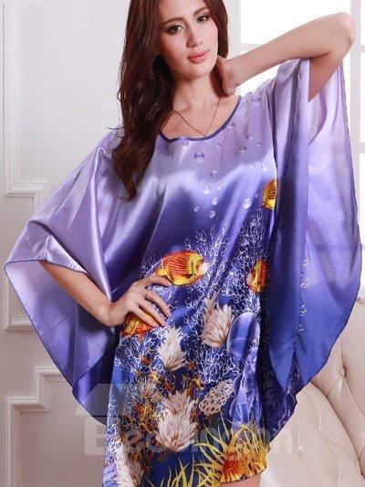 Magic Charming Purple With Beautiful Ocean World Pattern Design Sleepshirt